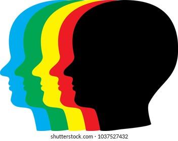 Colorful Human Head Illustration - Shutterstock ID 1037527432