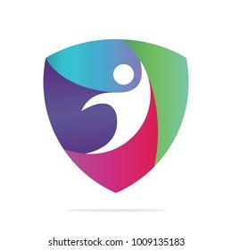 Colorful human shield logo, vector logo template