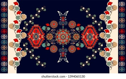 Colorful hungarian vector design for rug, towel, carpet, textile, fabric, cover. Bright floral stylized decorative motifs. Rectangular ethnic floral design with ornamental center. Vector template rug
