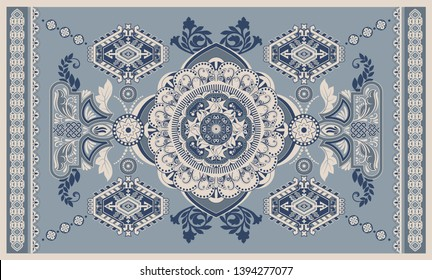 Colorful hungarian vector design for rug, towel, carpet, textile, fabric, cover. Floral stylized decorative motifs. Rectangular ethnic floral design with ornamental center. Turkey floral ornament