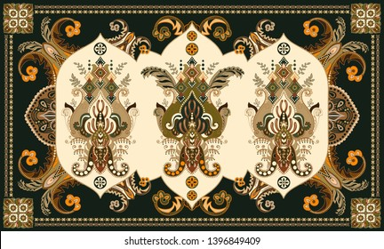 Colorful hungarian vector design for rug, towel, carpet, textile, fabric, cover. Floral stylized decorative motifs. Rectangular ethnic floral design with ornamental center