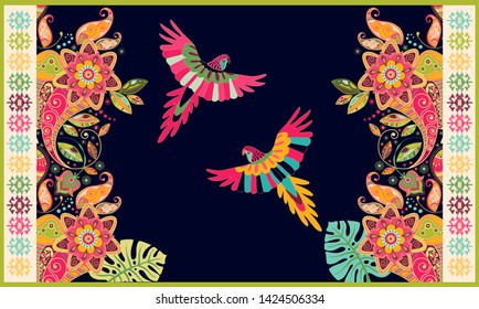 Colorful hungarian vector design for rug, towel, carpet, textile, fabric, cover. Bright floral stylized decorative motifs. Rectangular ethnic floral design with ornamental center. Birds and flowers
