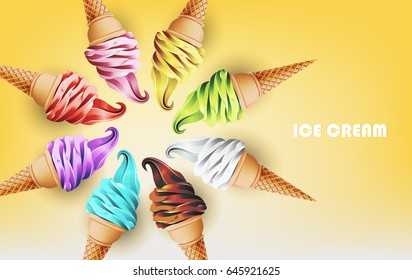 Colorful ice cream cone in form of circle, different flavors such as strawberry, peppermint, lemon, mango, blueberry, chocolate and milk, clipping mask crop, Vector illustration