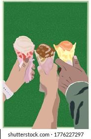 Colorful Ice Cream Cone Portrait Vector Illustration (original photo by Mark Cruz, Unsplash)