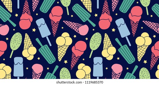 Colorful ice cream and stars seamless pattern. Great for yummy summer dessert wallpaper, backgrounds, packaging, fabric, scrapbooking, and giftwrap projects. Surface pattern design.