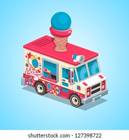 colorful ice cream truck,vector background