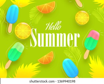 Colorful ice-creams and lemon slices on green leaf background for Summer with stylish text Hello Summer.