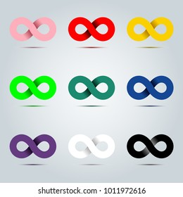Colorful icon of Endless infinity loop vector symbol for graphic illustration design concept idea