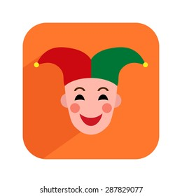 Colorful icon with face of animator, jester, clown, buffoon or joker. Vector illustration.