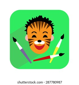 Colorful icon. Face painting. Child with painted face and brushes. Vector illustration.