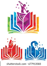 Colorful icon or logo set of adventures and fantasy coming to life from the pages of a book.