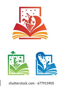 Colorful icon and logo set of explorers and adventurers coming to life out of the pages of a story book.