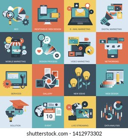 Colorful icon set of business, marketing, technology, event and networking for mobile applications and websites. Flat vector illustration