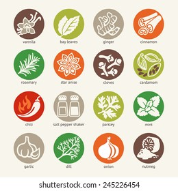Colorful icon set - cooking ingredients: spices, condiments and herbs