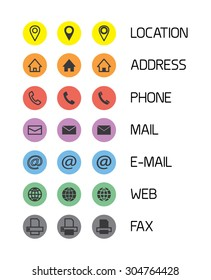 Colorful icons for business cards/mobile phone application. Vector illustration.