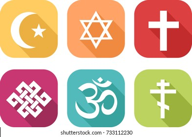 Colorful icons of symbols representing different religions