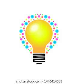 colorful idea light bulb modern logo template design vector in isolated white background, symbol of creativity, knowledge, mind, and thinking