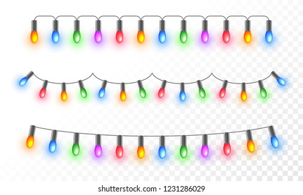 Colorful illuminated lighting garlands on png background for festival celebration concept.