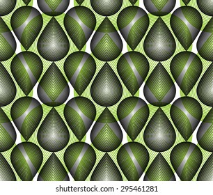 Colorful illusive abstract seamless pattern with overlapping geometric shapes. Vector symmetric lined transparent backdrop.