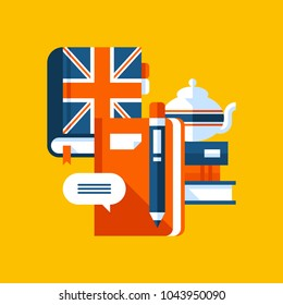 Colorful illustration about English in modern flat style. College subject icon on yellow background. Books, notebook, white teapot.