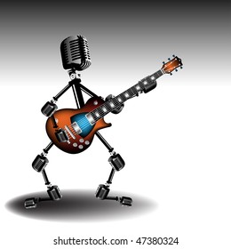Colorful illustration with abstract humanoid silhouette made from microphones and singing at the electric guitar. Rock star concept