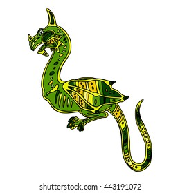 Colorful illustration background with hand-drawn green dragon in ethnic style. Mosaic ornament. Vector design.