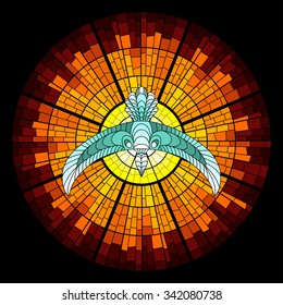 Colorful illustration background of pigeon and sun glow with rays. Stained glass window mosaic style. Vector design.