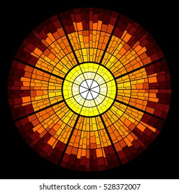 Colorful illustration background of sun glow with rays. Stained glass window mosaic style. Vector design.