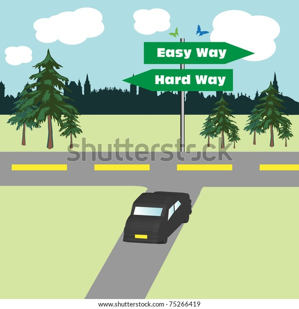Colorful illustration with a car achieving a road which bifurcates in two ways the easy way and the hard way. Option concept