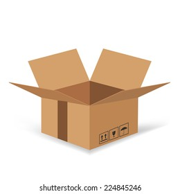 colorful illustration  with Cardboard box  on white background