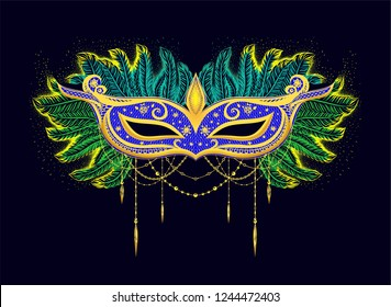 Colorful illustration for carnival. Black background with blue mask and green feathers.