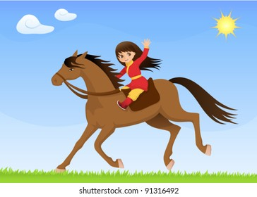 colorful illustration for children - a cute Asian girl riding horse
