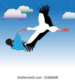 Colorful illustration with clouds and stork flying high carrying a baby