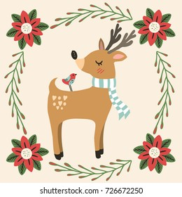 Colorful illustration of deer and friend bird with Christmas decoration