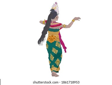 A colorful illustration depicting a dancer in traditional Balinese costume.