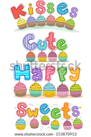 colorful illustration featuring cupcakes random ready stock vector