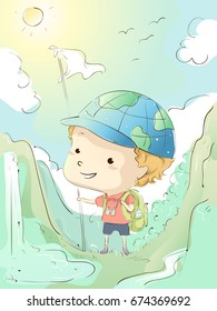 Colorful Illustration Featuring a Cute Little Boy Dressed in Camping Gear Taking a Walk in the Wilderness