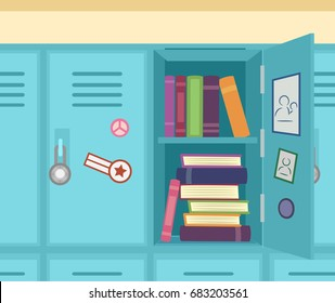 Colorful Illustration Featuring an Open School Locker Showing Stacks of Books