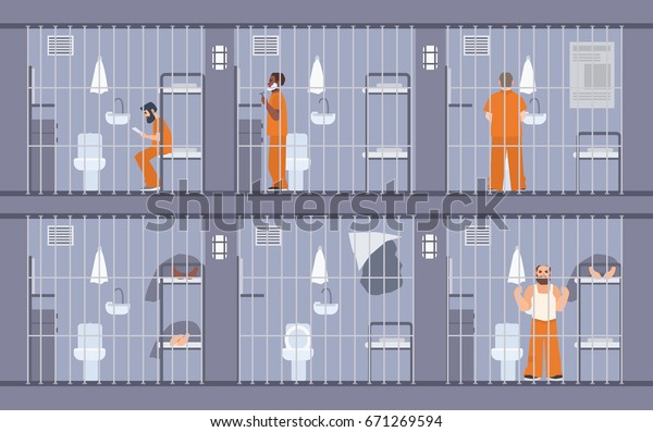 Colorful illustration featuring prisoners behind the bars. People in orange uniform. escape get out through wall in cell. Prison inmates. Flat cartoon vector.