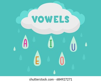 Colorful Illustration Featuring a Raincloud Sending Down Droplets of Water With Vowels
