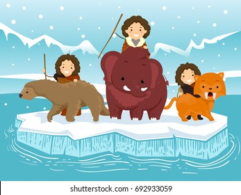 Colorful Illustration Featuring Spear Wielding Stickman Kids in  Caveman Clothing Hunting With a Sabertooth Tiger, a Wooly Mammoth, and a Ground Sloth
