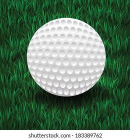 colorful illustration with golf ball on a green grass background