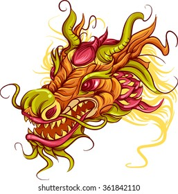 Colorful Illustration of the Head of a Chinese Dragon