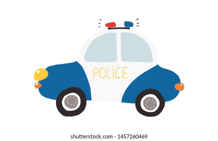Colorful illustration, kids toy police car. Vector illustration for prints, cards, posters, decorations and other child designs