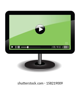colorful illustration with monitor with web video player