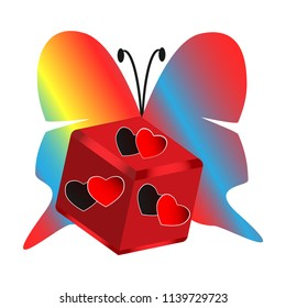 Colorful illustration.  Multicolored butterfly and a cube with hearts symbolizing love