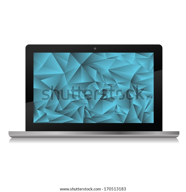 colorful illustration with  new laptop for your design
