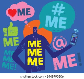 Colorful Illustration of person holding Smartphone, Me Me Me, Millennial Concept, Face Time, Grunge Texture, Social Media, Symbols, Self Obsessed, Millennials, Smartphone, Attention Seeker, Gen Y