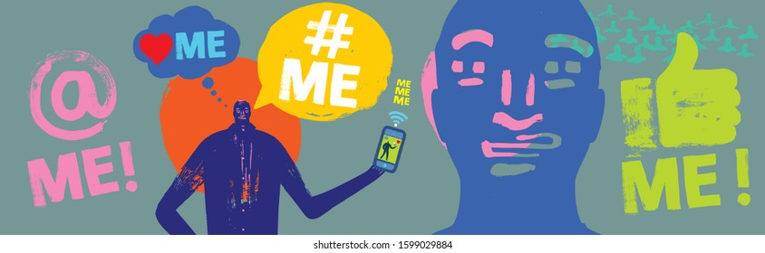 Colorful Illustration of person holding Smartphone, Me Me Me, Text, Millennial Concept, Face, Brush Stroke, Grunge Texture, Vector, Wide Format, Social Media, Symbol, Self Obsessed, Business, Phone