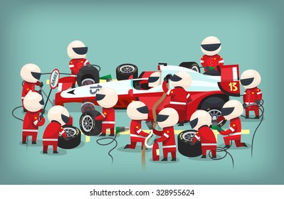 Colorful Illustration With Pit Stop Workers And Engineers Maintaining Technical Service For A Racing Car During